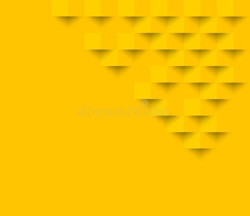 Gelbes quadratisches geometrisches Beschaffenheitshintergrund Zusammenfassungs-Quadrat geom lizenzfreie abbildung