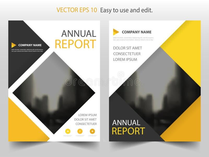 Gelbes quadratisches Vektorjahresbericht Broschüren-Broschüren-Fliegerschablonendesign, Bucheinband-Plandesign, abstrakte Darstel vektor abbildung