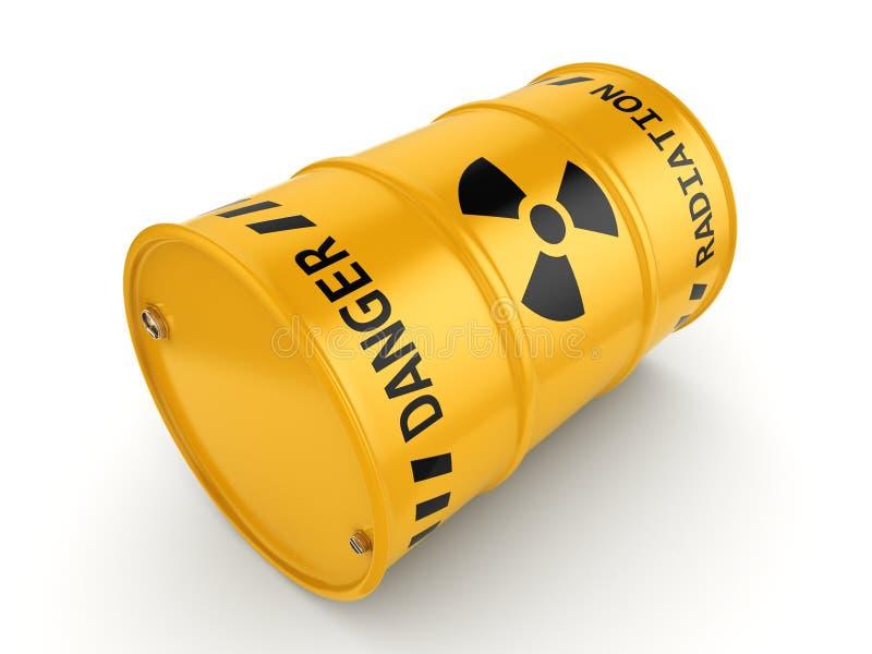 Gelbes radioaktives Fass stock abbildung