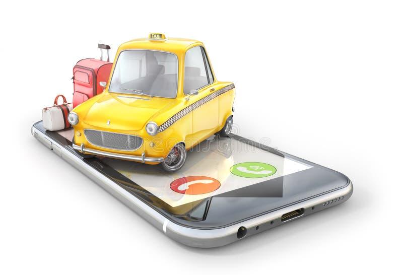 Gelbes Retro- Taxiauto auf dem Telefonschirm auf Weiß lizenzfreie abbildung