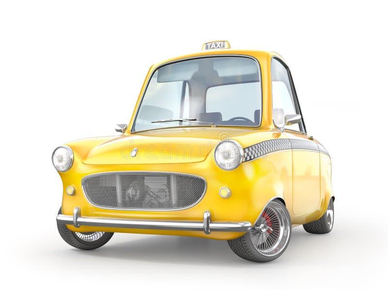 Gelbes Retro- Taxiauto lokalisiert auf einem Weiß Abbildung 3D lizenzfreie abbildung