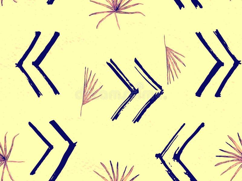 Gelbes rosa exotisches Muster stock abbildung