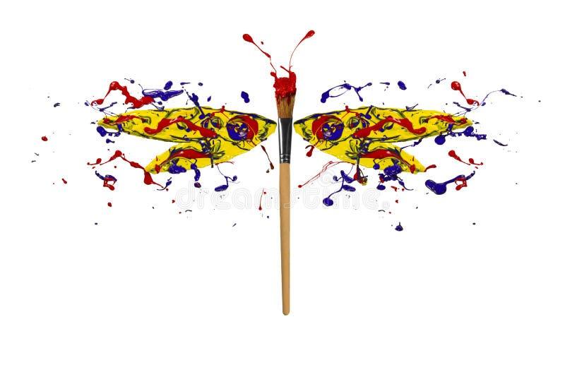 Gelbes rotes blaues Farbe splah machte Libelle vektor abbildung