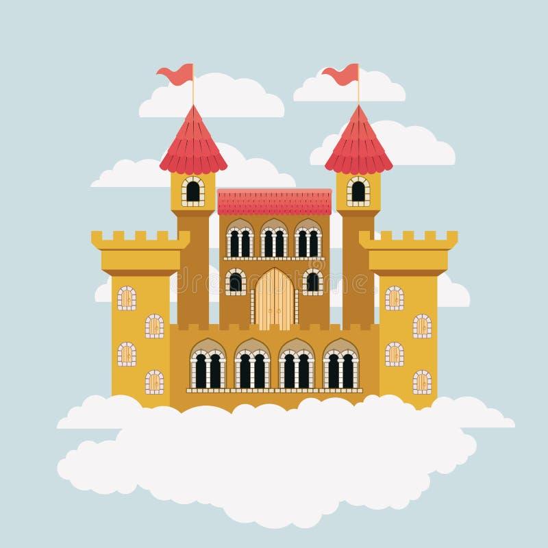 Gelbes Schloss von Märchen im Himmel umgeben durch Wolken im bunten Schattenbild lizenzfreie abbildung