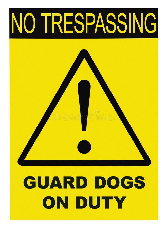 Gelbes schwarzes Dreieck kein übertretendes Schutz-Dogs On Duty-Text-Warnzeichen, vertikale große ausführliche lokalisierte Makro stock abbildung