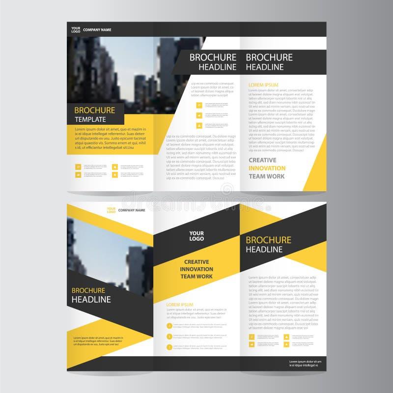 Gelbes schwarzes dreifachgefaltetes Broschüren-Broschüren-Fliegerschablonendesign, Bucheinband-Plandesign lizenzfreie abbildung