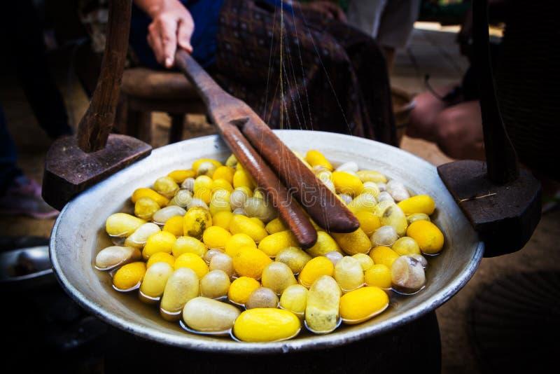 Gelbes Seidenraupenkokonoberteil durch den Silk Weg stockfotos