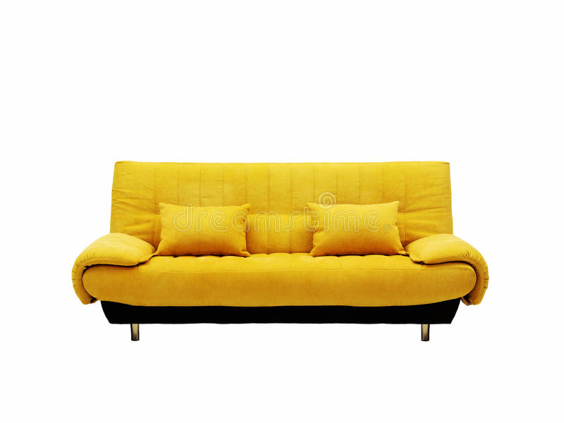 gelbes sofa stockfoto bild von bequem isoliert fu boden 20142022. Black Bedroom Furniture Sets. Home Design Ideas