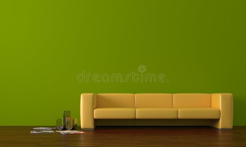 Gelbes Sofa lizenzfreie abbildung