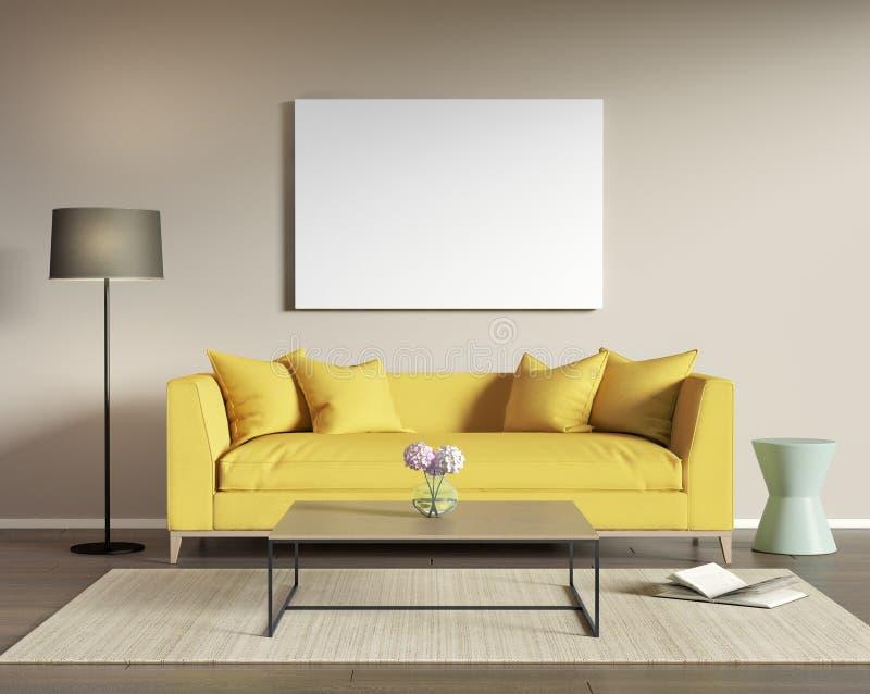 gelbes sofa in einem modernen wohnzimmer stock abbildung. Black Bedroom Furniture Sets. Home Design Ideas