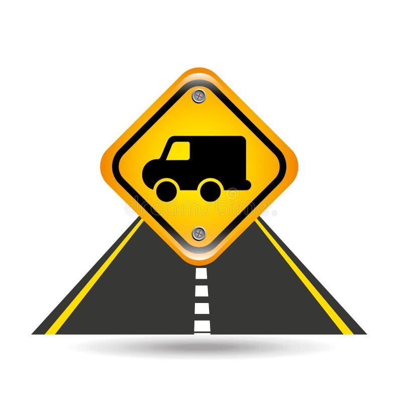 Gelbes Straßenstraßenschild des Lieferwagens lizenzfreie abbildung