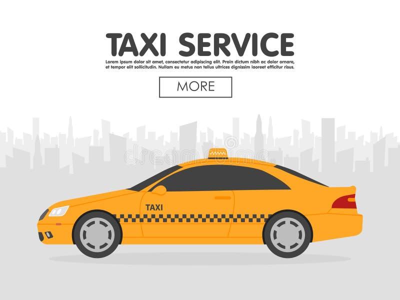 Gelbes Taxiauto vor Stadtschattenbild, Illustration im einfachen flachen Design stock abbildung