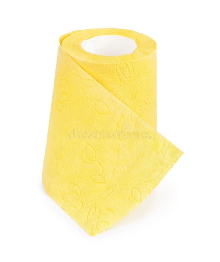 Gelbes Toilettenpapier stockfoto