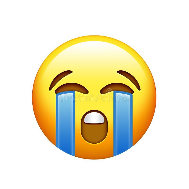 Gelbes trauriges Gesicht Emoji mit schreiender Rissikone vektor abbildung