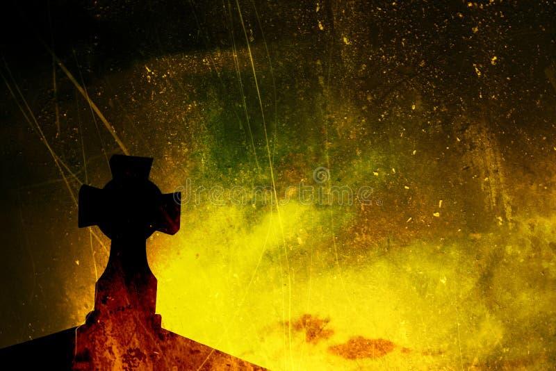 Gelbes und grünes strukturiertes Kreuz stock abbildung
