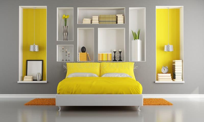 Gelbes und graues modernes Schlafzimmer stock abbildung