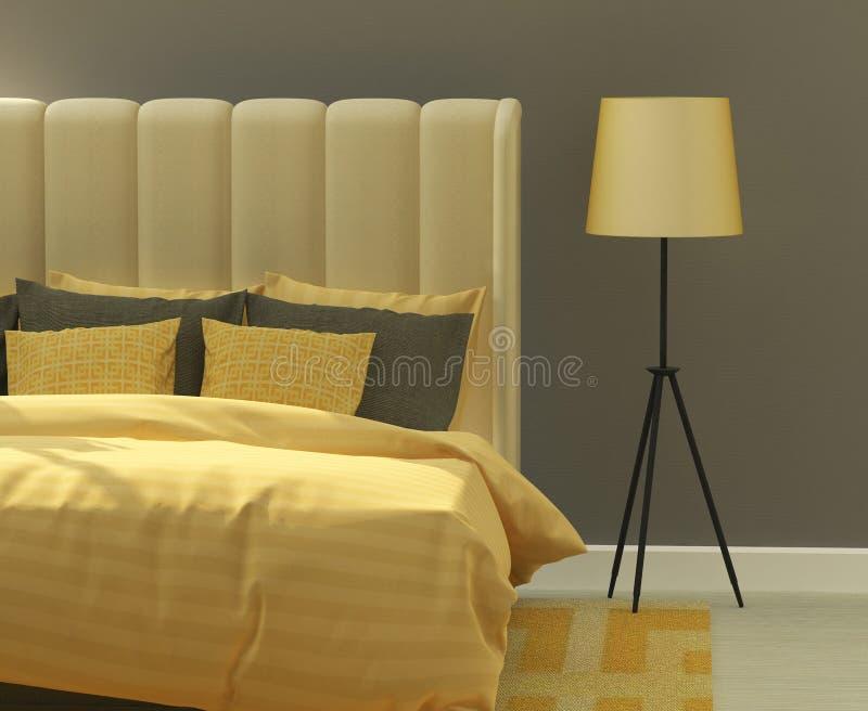 Gelbes und graues Schlafzimmer lizenzfreie stockbilder