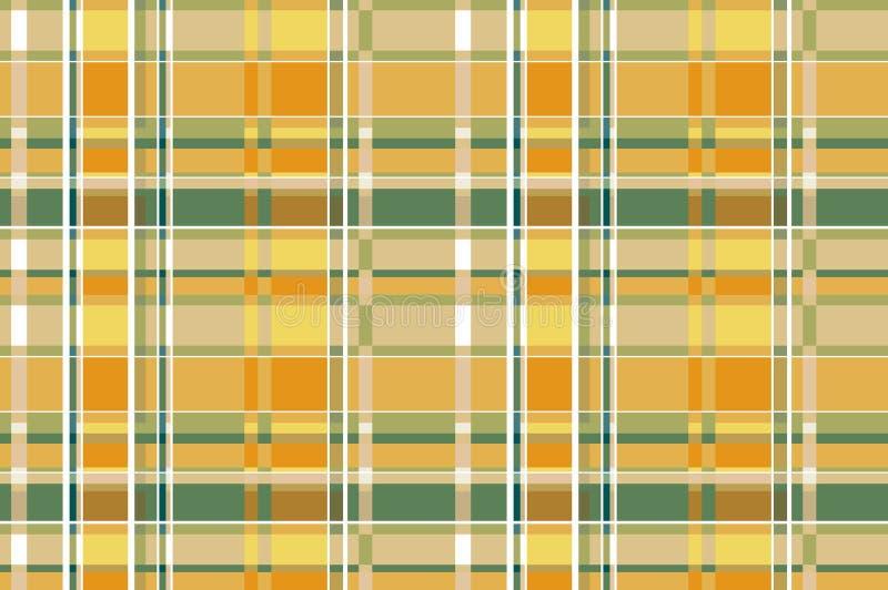 Gelbes und ockerhaltiges Schottenstoff-Plaid-schottisches Textilmuster nahtloser vetor Hintergrund ENV 10 stock abbildung