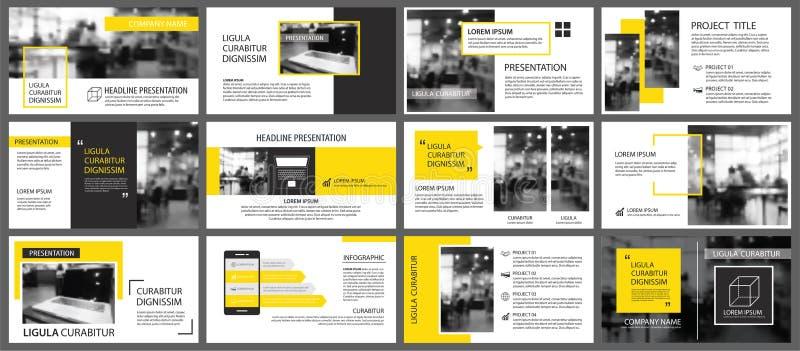 Gelbes und weißes Element für das Dia infographic auf Hintergrund PR lizenzfreie abbildung