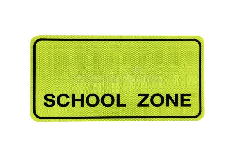 """Gelbes Verkehr Signsâ€- Schulzone """" lokalisiert auf am weißen Hintergrund der Datei mit Beschneidungspfad stockfotos"""