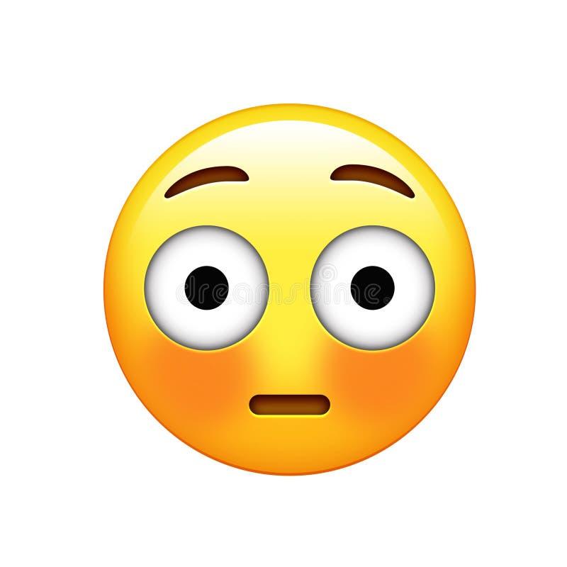 Gelbes verlegenes Gesicht Emoji und spülte rote Backenikone stock abbildung