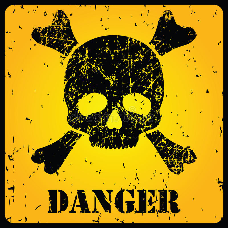 Gelbes Warnschild mit dem Schädel stock abbildung