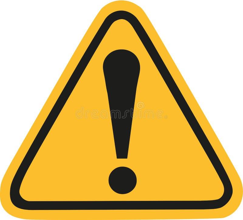 Gelbes Warnzeichen mit Ausrufezeichen stock abbildung