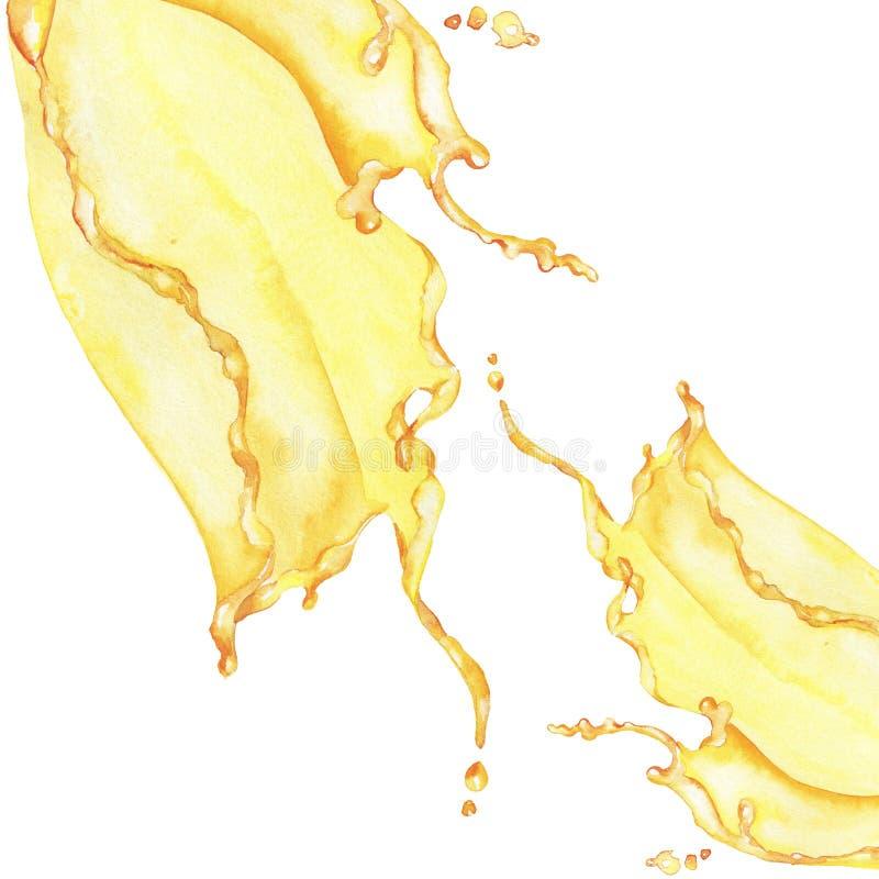 Gelbes Wasserspritzen Hand gezeichnete Abbildung lizenzfreie stockfotografie