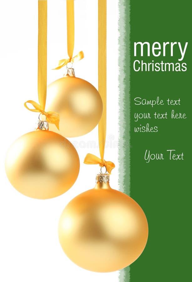 Gelbes Weihnachtsglaskugeln lizenzfreie stockbilder
