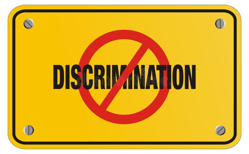 Gelbes Zeichen der Antidiskriminierung - Rechteckzeichen lizenzfreie stockfotografie