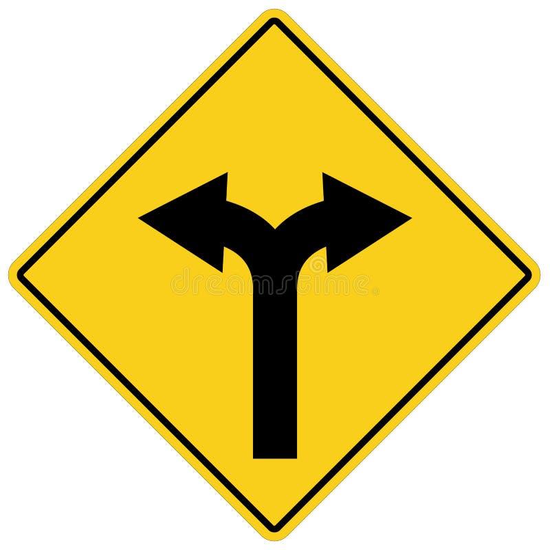 Gelbes Zeichen mit zwei Pfeilen Warnsymbol des Gabelstraßengelbs stock abbildung
