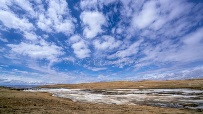 Gelbgras Fluss der weißen Wolken des blauen Himmels gefrorenes in Bayanbulak im Frühjahr stockbilder