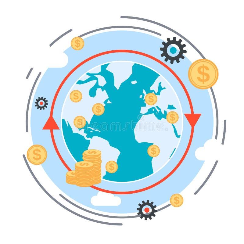 Geldüberweisung, Geldtransaktion, globales Finanzvektorkonzept lizenzfreie abbildung