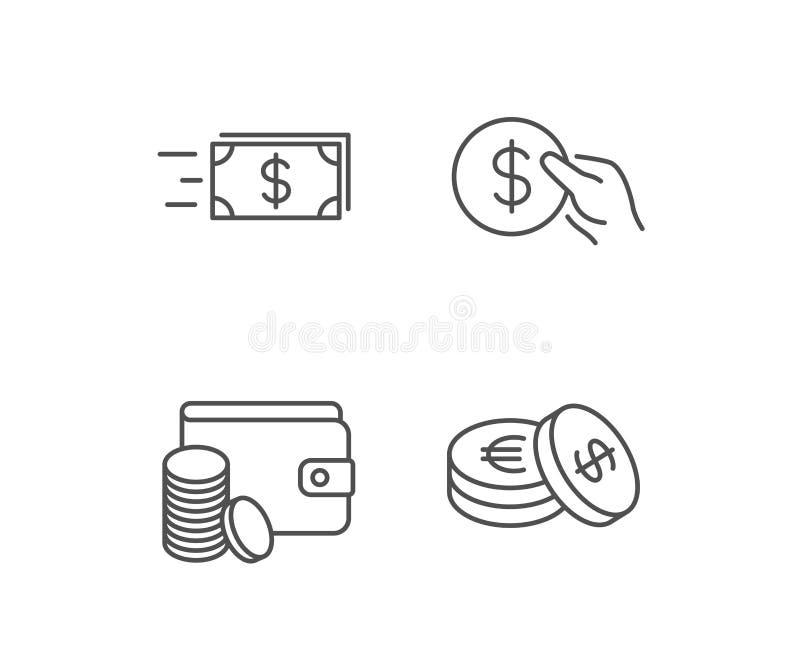 Geldüberweisungs-, Bargeld- und Geldbörsenikonen Halten Sie Münze vektor abbildung