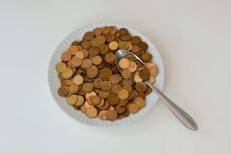 Geld als ruw voedsel stock foto's