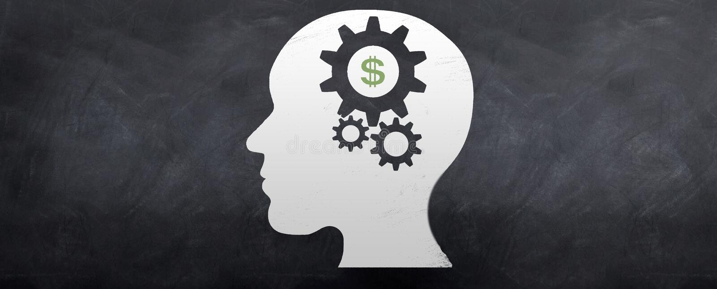 Geld auf dem Gehirn lizenzfreie abbildung