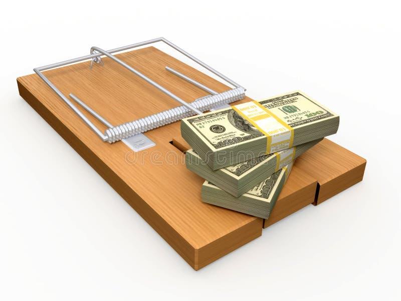 Geld auf einem Mousetrap lizenzfreie abbildung