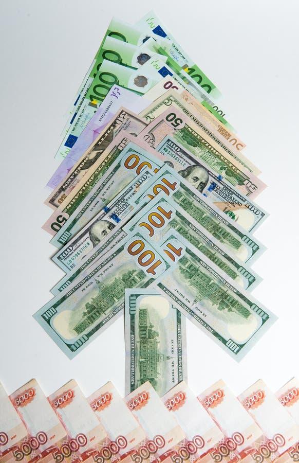 Geld Geld aus verschiedenen Ländern Reisekostenkonzept uncropped auf weißem Hintergrund lizenzfreie stockfotografie