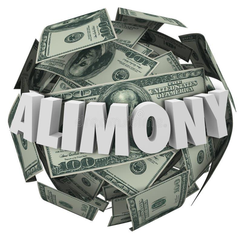 Geld-Ball-finanzielle Verpflichtung ex Hochzeits-Suppo des Alimente-Wort-3d vektor abbildung