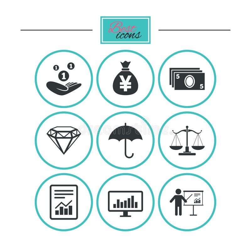Geld, Bargeld und Finanzikonen Einsparungenszeichen vektor abbildung