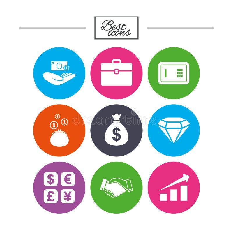 Geld, Bargeld und Finanzikonen Händedruckzeichen stock abbildung