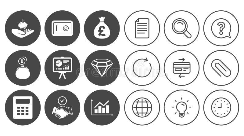 Geld, Bargeld und Finanzikonen Händedruckzeichen lizenzfreie abbildung