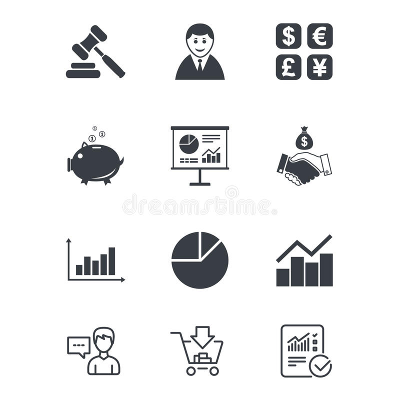Geld, Bargeld und Finanzikonen Händedruckzeichen vektor abbildung