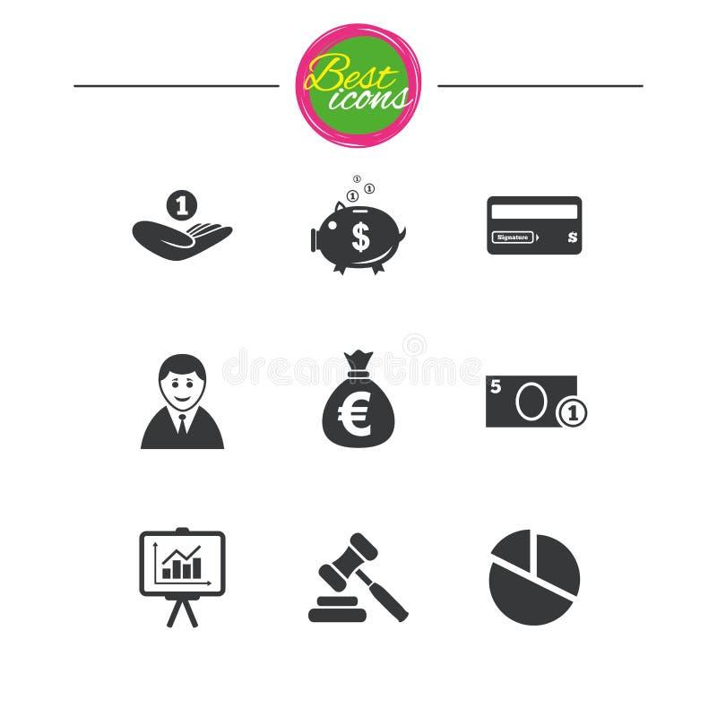 Geld, Bargeld und Finanzikonen Sparschweinzeichen vektor abbildung