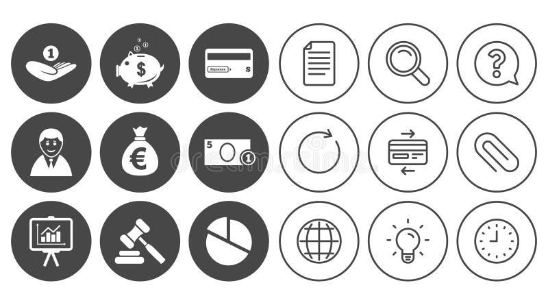 Geld, Bargeld und Finanzikonen Sparschweinzeichen stock abbildung