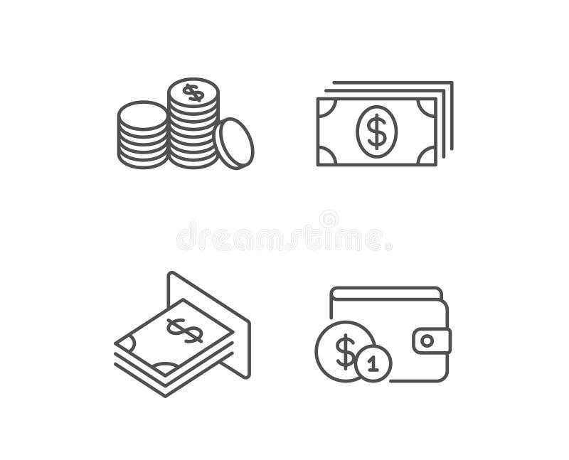 Geld-, Bargeld- und Geldbörsenlinie Ikonen münzen lizenzfreie abbildung