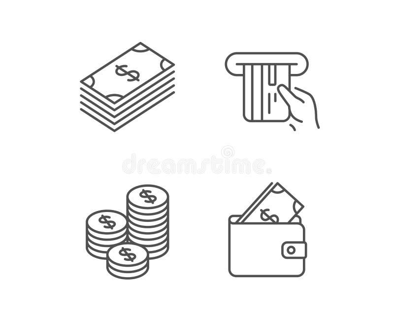 Geld-, Bargeld- und Geldbörsenlinie Ikonen münzen stock abbildung