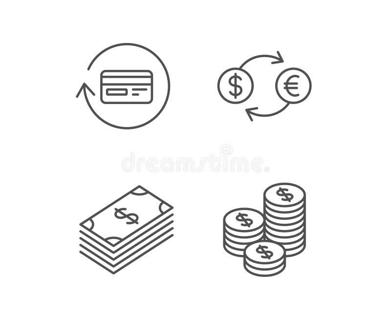 Geld-, Bargeld- und Geldumtauschlinie Ikonen stock abbildung