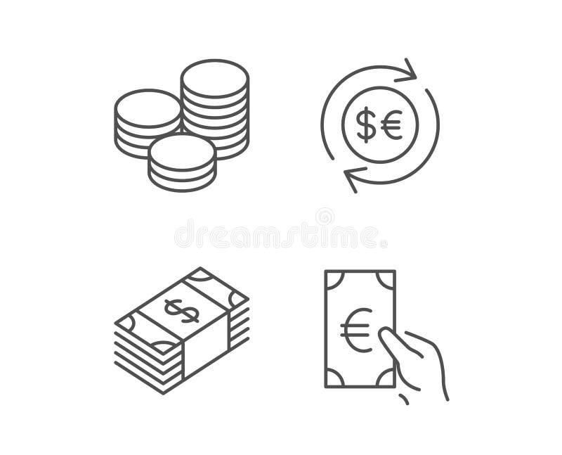 Geld-, Bargeld- und Geldumtauschlinie Ikonen lizenzfreie abbildung