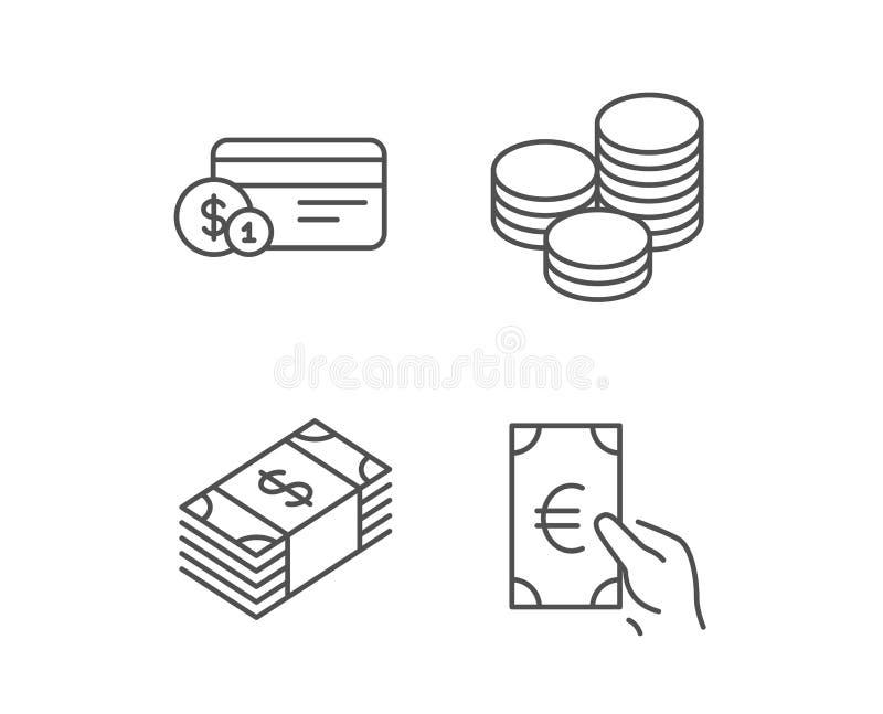 Geld-, Bargeld- und Währungslinie Ikonen lizenzfreie abbildung